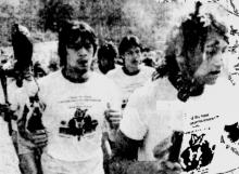 Cherokee runners carry the eternal flame to Red Clay, 1984