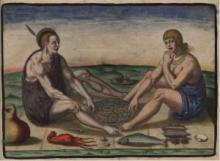 Native American Man and Woman Eating, 1590. By Theodor de Bry. North Carolina Collection, UNC-Chapel Hill.