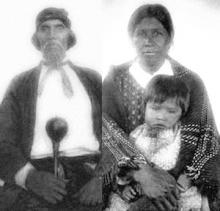 Ancestors--photos of Swimmer and Qweti by James Mooney, Qualla Boundary, 1880s