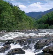 French Broad River and mountains near Asheville